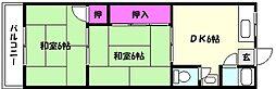 兵庫県神戸市東灘区住吉山手3丁目の賃貸アパートの間取り
