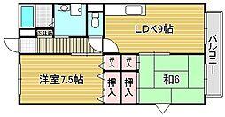 大阪府吹田市高城町の賃貸アパートの間取り