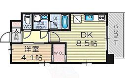 Osaka Metro御堂筋線 東三国駅 徒歩7分の賃貸マンション 13階ワンルームの間取り