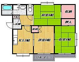 ハイツイシワタ6[202号室号室]の間取り