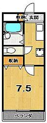 京都府京都市上京区東西俵屋町の賃貸アパートの間取り