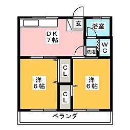 ASUフラット[2階]の間取り