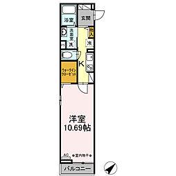 JR横浜線 矢部駅 徒歩7分の賃貸アパート 2階1Kの間取り