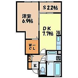 カノン・エム 1階1SDKの間取り