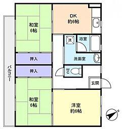 ビレッジハウス古和釜4号棟[3階]の間取り