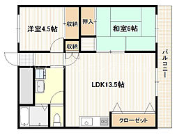 JR山陽本線 五日市駅 徒歩8分の賃貸マンション 4階2LDKの間取り
