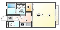大阪府寝屋川市中木田町の賃貸アパートの間取り