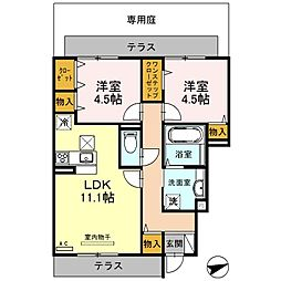 大阪府大阪市平野区瓜破西3丁目の賃貸アパートの間取り