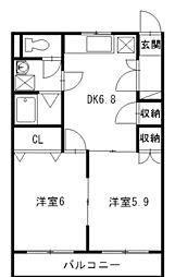 シャトープレミール[2階]の間取り