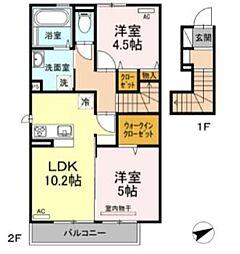 D-room唐原 C 2階2LDKの間取り