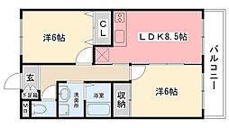 久寿川サニーハイツ[306号室]の間取り