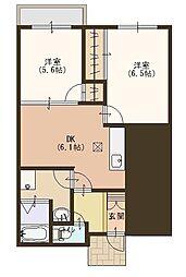 滋賀県栗東市上鈎の賃貸マンションの間取り