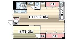 湊川公園ビル[1204号室]の間取り