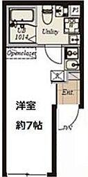 東京メトロ日比谷線 仲御徒町駅 徒歩3分の賃貸マンション 4階ワンルームの間取り