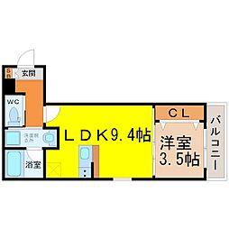 (仮称)幸心2丁目新築アパート B棟[1階]の間取り