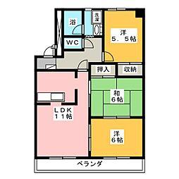 パークサイド花水木[2階]の間取り
