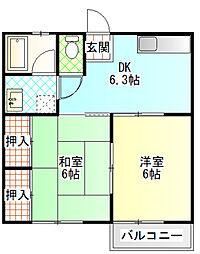 コーポ江藤[202号室]の間取り