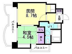札幌ビオス館 2階1LDKの間取り