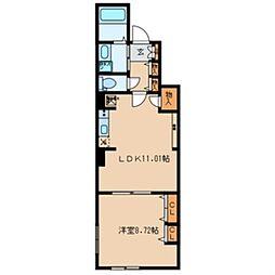 東京メトロ有楽町線 月島駅 徒歩8分の賃貸マンション 1階1LDKの間取り