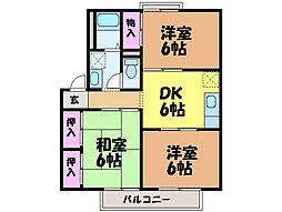 愛媛県伊予市下吾川の賃貸アパートの間取り