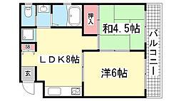 ディア熊内[4A号室]の間取り