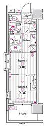 東京メトロ東西線 木場駅 徒歩5分の賃貸マンション 2階2Kの間取り