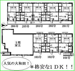 東京都八王子市大和田町3丁目の賃貸アパートの間取り