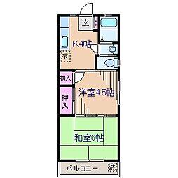 神奈川県横浜市港北区富士塚2の賃貸アパートの間取り