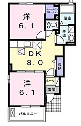 ホワイトローズA[1階]の間取り
