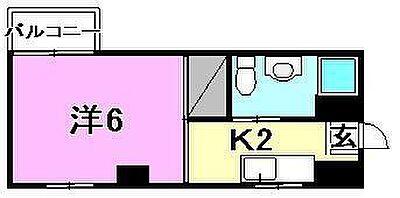 間取り,1K,面積20m2,賃料2.6万円,バス 大手町下車 徒歩3分,伊予鉄道環状線(JR松山駅経由) 西堀端駅 徒歩5分,愛媛県松山市大手町1丁目