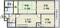 大阪府大阪市生野区巽東2丁目の賃貸マンションの間取り