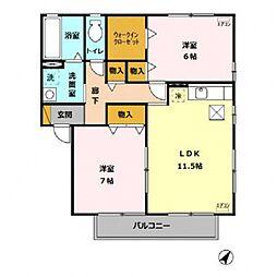 グランドゥール II C[102号室号室]の間取り