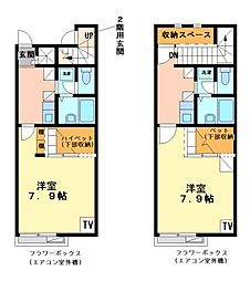 兵庫県姫路市飾磨区天神の賃貸アパートの間取り