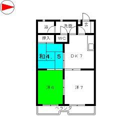 サンライズ中平[3階]の間取り