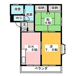 サンピュアハピネスA・B[2階]の間取り