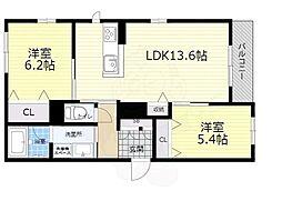大阪モノレール本線 千里中央駅 徒歩10分の賃貸アパート 1階2LDKの間取り