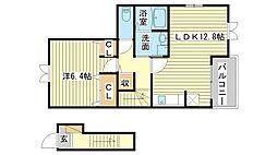 飾磨区加茂アパート[203号室]の間取り