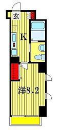 朱雀楼東京 8階1Kの間取り