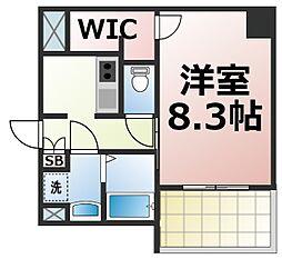 JR大阪環状線 森ノ宮駅 徒歩6分の賃貸マンション 5階1Kの間取り