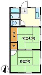 三愛コーポ北越谷 202[2階]の間取り