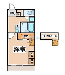 近鉄大阪線 河内山本駅 徒歩33分の賃貸マンション 2階1Kの間取り