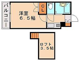 モーリックス飯塚[1階]の間取り