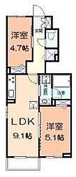 江ノ島電鉄 藤沢駅 バス7分 小塚下車 徒歩3分の賃貸アパート 1階2DKの間取り