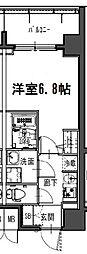 ジアコスモ江戸堀パークフロント 2階1Kの間取り