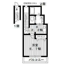 東京都豊島区南長崎2丁目の賃貸アパートの間取り