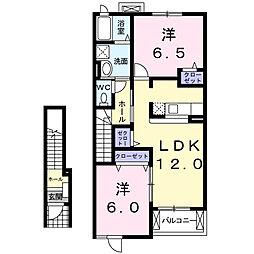 ベル・ミニョンB[2階]の間取り