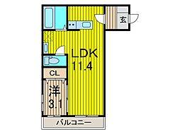ビューノ・ワン[1階]の間取り