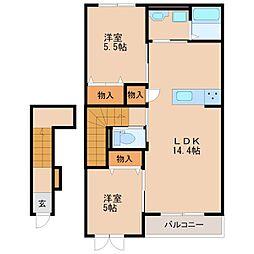 (仮)高良内新築アパート[202号室]の間取り