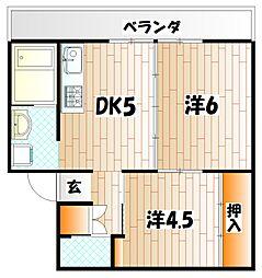 ビレッジハウス苅田 3号棟[4階]の間取り