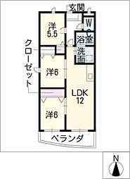 プレジール尾平A棟[1階]の間取り
